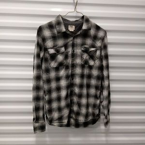 Vans Off The Wall Abstract Plaid Button Up Shirt